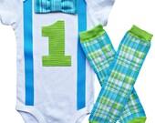 Baby Boys 1st Birthday Outfit - Safari Plaid Bow Tie Onesie & Leg Warmers [BTOSPLG]