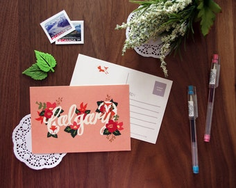 Floral Calgary Postcard | City Love Collection | Handdrawn Illustration Print | Alberta, Canada