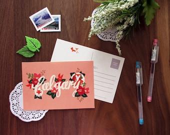 Floral Calgary Postcard | City Love Collection | Handdrawn Illustration Print | Alberta, Canada
