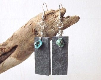 Slate Earrings - Natural Stone Earrings - Lake District Slate Earrings - Turquoise Howlite Earrings - Dangle Earrings Silver Plated