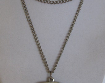 Unique 1960's Modernist Pewter Hand Signed R. Landerholm for TENNESMED Swedish Boat with Fish & Nets Pendant, Chain, Beautiful Artisan Piece