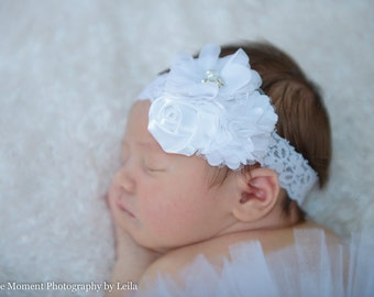 White Lace Headband, Baby Headband, White Hair Bow, Newborn Headband, Baptism Headband, Baby Christening Headband