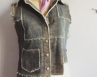 Vintage Jean Paul Gaultier denim vest JPG Jean's raw denim patchwork 90s Gaultier waistcoat JPG asymmetric denim vest metal buttons logo