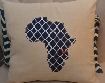 Handmade Africa African Pillow cover 18x18, decorative pillow, couch pillow, square pillow, home decor, Africa decor, adoption, dorm room