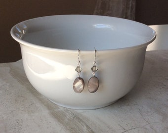 Gray Swarovski Crystal & Shell Silver Earrings | Silver-Plated | Gift for Her