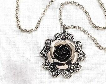 Black Rose Pendant, Black Rose Necklace, Black Flower, Black Metal Jewelry, Black Wedding, Victorian Gothic Wedding, Necklaces for Women,549