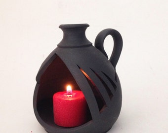 Hand Crafted Matte Black Ceramic Candle Holder
