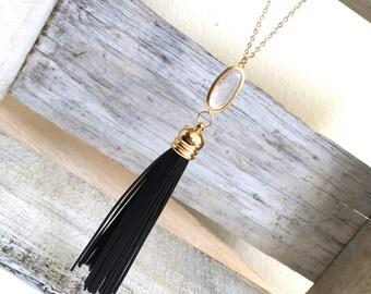 Black Leather Tassel Necklace, Long Black Leather Tassel Necklace, Bohemian Long Tassel Crystal Necklace, Long and Layered Necklace