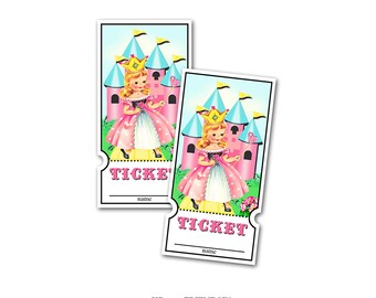 Princess Raffle Tickets / printable tickets / princess party tickets / digital tickets / instant download