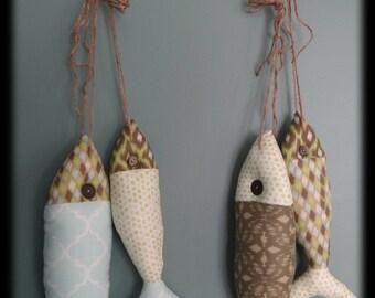 FISH STRINGER  with 2 Fish, Aqua, Green and Brown Fish Nursery Decor, Children's Room Decor