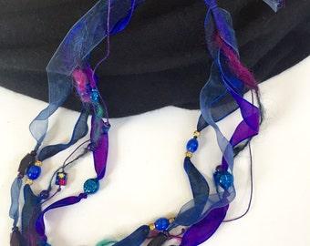 Midnight Blues multi-strand beaded necklace