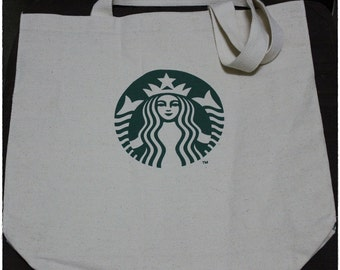 Starbucks Tote Bag, Silkscreen Canvas Bag, Cream Beige Tote, Grocery Bag, Eco Tote Bag, Library Bag, Book Bag, Shopping Bag