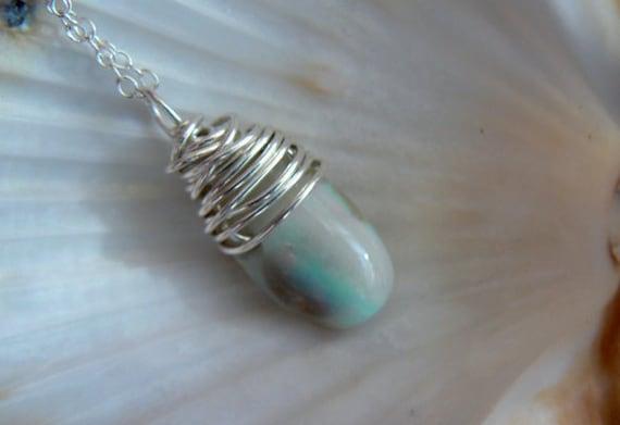 Australian opal gemstone pendant- Wire wrapped sterling silver opal pendant- Boho opal fashion pendant- Jewelry gemstone women necklace