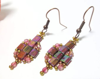 Earrings threaded earrings red purple topaz Tila beads