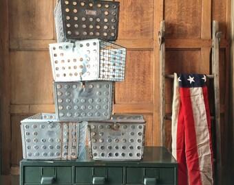 Vintage Wire Baskets, Gym Locker Basket, Industrial Wire Basket, Storage Basket
