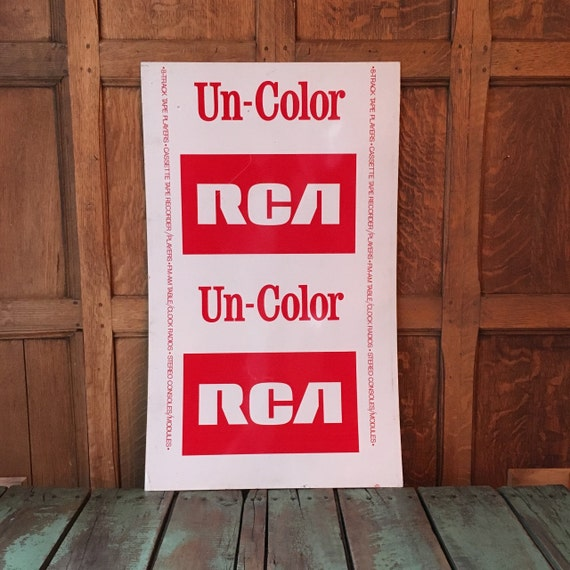 Vintage RCA Tin Advertising Sign, 1970s Un-Color RCA Sign, RCA Radio Sign