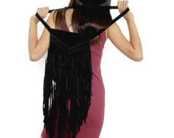 Black boho Leather fringe purse , Messenger bag women , Hipster shoulder bag , Black suede boho fringe bag , Leather fringe bag,