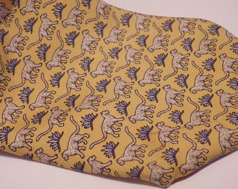 1990s 346 Brooks Brothers Tie Necktie Yellow Leopards Cats Blue