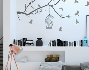 Branch With Birds Wall Decal Stickers Birdcage Vinyl