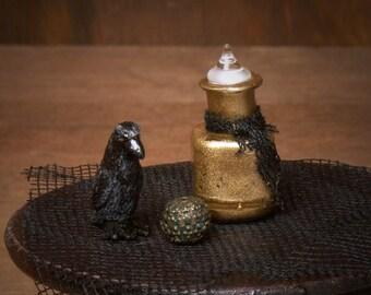 Golden Miniature Glass Bottle for Your Dollhouse