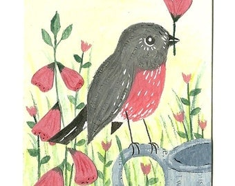 SALE - ACEO Original, Pink Robin, Pink Flowers, Spring, One of a kind, mixed media, collage, art, uk