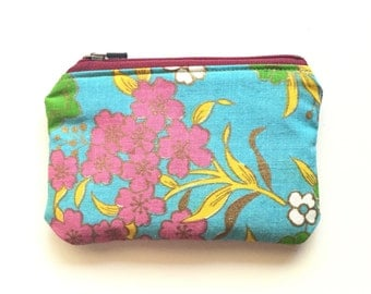 Eco-Friendly Coin Purse / Floral and Maroon Zipper Pouch / Teal Pink Yellow Purse Organizer Insert / Vintage Fabric Bag / Stocking Stuffer