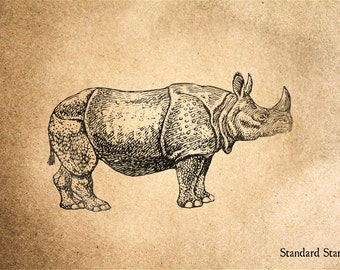 Rhinocerous Rubber Stamp - 3 x 2 inches