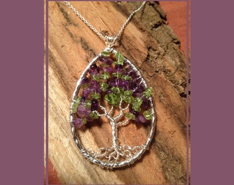 Crape Tree of Life Pendant-Peridot and Amethyst Handmade Jewelry Locket Celtic Gemstones Wire Wrapped Trees Custom by Twisted Tree of Life