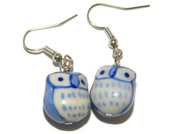 owl earrings light blue owl jewelry bird jewelry