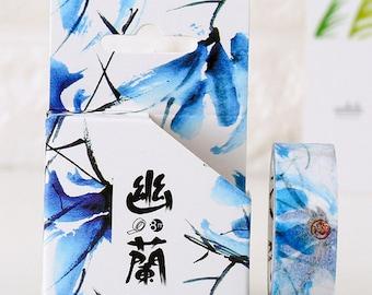 15mmX8M Ink Painting Design Blue Orchid Washi tape Masking Adhesive Tape