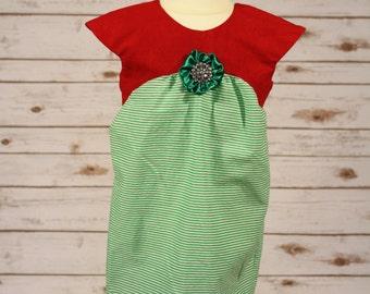 Green Striped Christmas Dress
