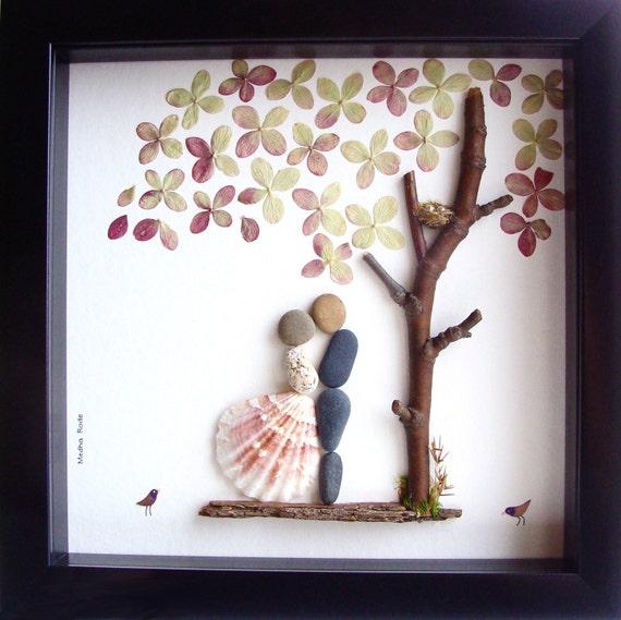 Wedding Gift Art : Wedding Gift Pebble Art-Unique Engagement Gift-Personalized Wedding ...