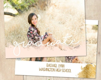 INSTANT DOWNLOAD 5x7 Graduation Announcement Card Photoshop Template - CA631