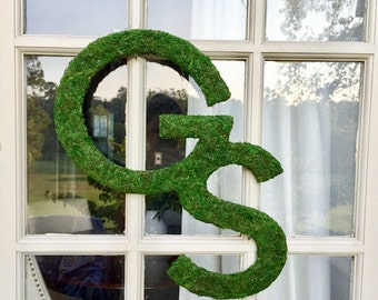 18 inch Moss Covered Letter, Moss Covered Georgia Southern Logo, Georgia Southern University, Sports Logo