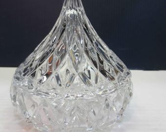 Crystal Hershey Kiss, German Jonal (?) Candy Dish w/ Lid