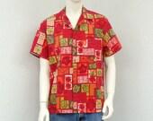 Vintage 60s Red Hawaiian Shirt, Aloha Shirt, Floral Shirt, Rockabilly Shirt, Tropical Shirt, Summer Shirt,  Resort Wear, Size L