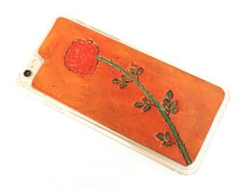 Leather iPhone 6s Plus Case / iPhone 6 Plus Case - Red Rose