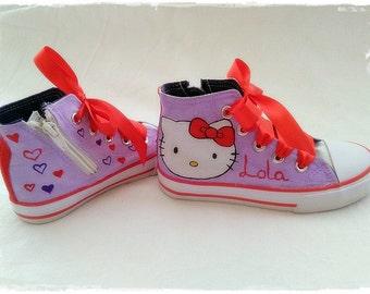 Kitty shoes, Hello Kitty, Hello kitty sneakers, Kitty Sneakers painted canvas, kitty Sneakers, shoes, slippers handmade