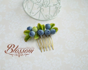 Blueberry hair comb, fimo berries, clay berry, berry hair accessories, wedding berry haircomb