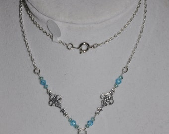 Necklace Sterling Silver Floral Triangle Opal Teal Blue Crystal Chain #368