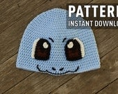 Crochet Pattern Squirtle Inspired Beanie Water Pokemon Crochet Hat Adult Teen Sized Unisex Blue Starter Turtle Water Pokemon Crochet Pattern