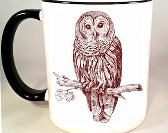 Owl Coffee Mug, Owl Coffee Cup, Ceramic Owl Mug, Owl Illustration, Gift, Sublimated 11 oz, Two Tone Colored Handle & Rim, 4 Colors