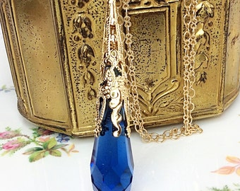 Sapphire Swarovski Crystal Pendant Necklace, Crystal Pendulum Pendant, Magic Pendulum, Wiccan, Pagan, September Birthstone, Birthday Gift