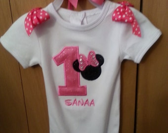 Minnie Birthday Onesie/Top and Matching Headband or Bow