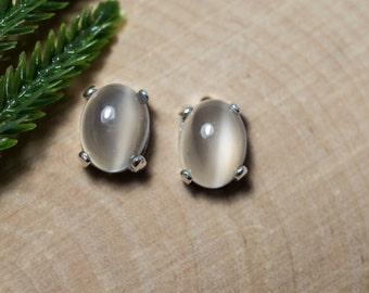 Cats Eye Moonstone Sterling Silver Earrings