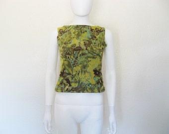 ON SALE Abstract Print High Neck Sleeveless Shirt - medium large