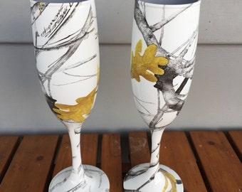 camo rustic wedding champagne glasses hydrographics true timber snowfall