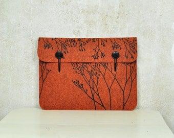 """Macbook Pro / Air 13"""" Tasche / Laptop Case / Orange Filz - Hülle mit Pflanze Siebdruck - Motiv"""