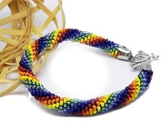 Birthday gift for Teens rainbow jewelry multicolor jewelry tennis jewelry friendship bracelet peace bracelet stretch bracelet chakra jewelry