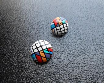 80s, 90s vintage earrings - multicolored clip on earrings - 80s/90s Colorblock earrings